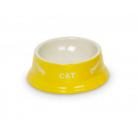 Cat bowls yellow-beige
