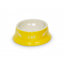 Cat double bowl yellow