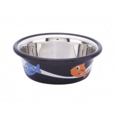 Cat bowl fish black