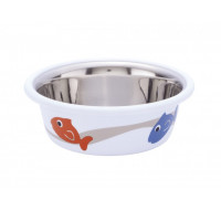 Cat bowl fish white