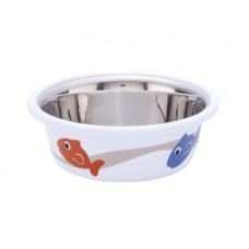 Cat bowl fish white