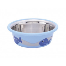 Cat bowl fish blue