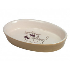 Cat bowl oval brown